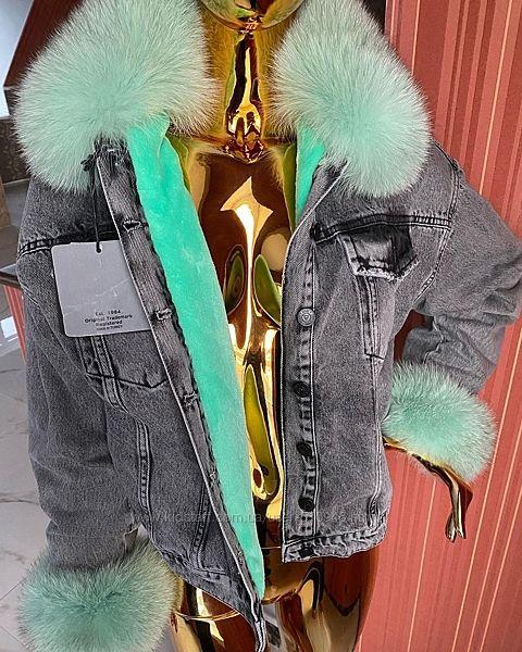 Женская джинсовая куртка джинсовка с натуральным мехом, выбор, все размер