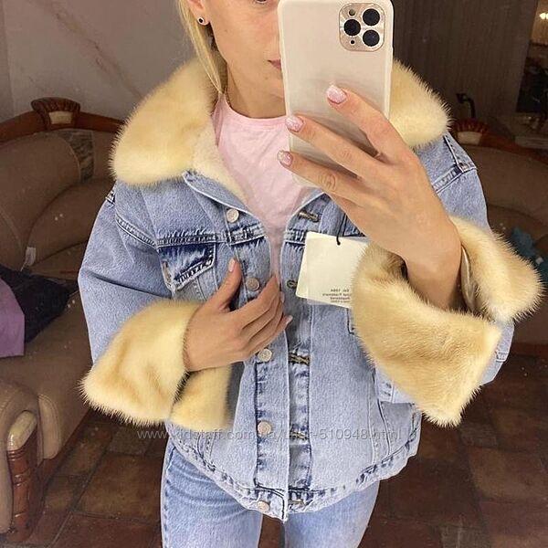 Женская джинсовка с мехом джинсовая  куртка  с норкой, выбор, XS-2XL