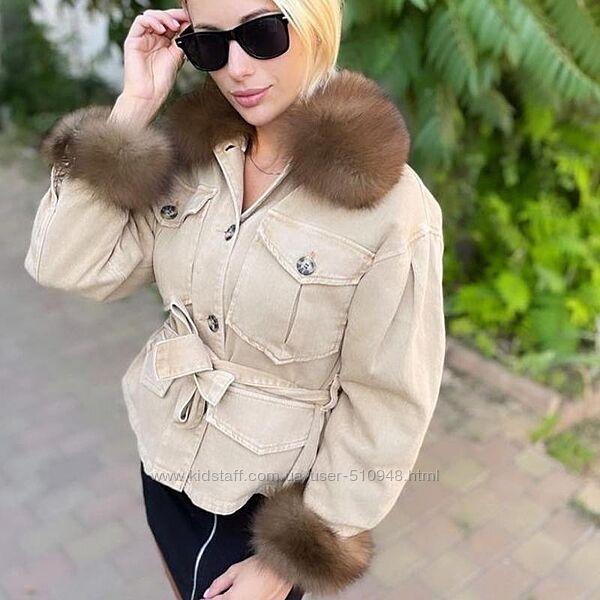 Женская джинсовая  куртка  с песцом джинсовка с мехом, выбор, XS-2XL