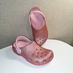 Кроксы Crocs Classic Glitter Clog размер C10, J2 , J3 оригинал