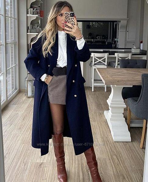 Новое демисезонное шерстяное пальто халат миди zara