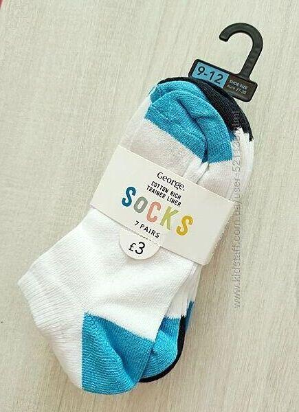 Белые низкие носки George р.9-12 27-30 7 пар