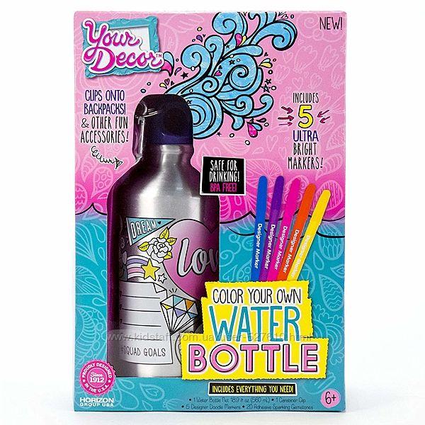 Дизайнерська пляшка для води Color Your Own Water Bottle