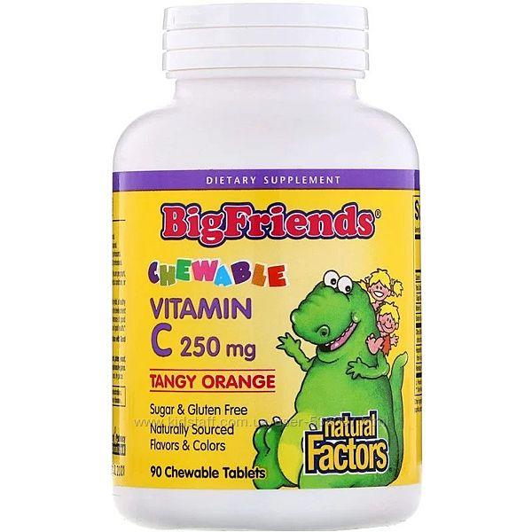 Natural Factors Big Friends детский жевательный витамин С. 250 мг, 90 шт.