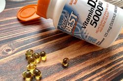 Doctor&acutes Best Витамин D3. 125 мкг 5000 МЕ, 180 мягких желатиновых капсул.