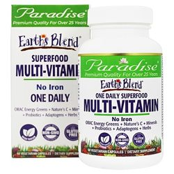 Paradise Herbs Earth&acutes Blend мультивитамины из суперпродуктов. 30 капс