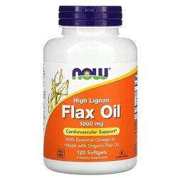 Now Foods льняное масло с высоким содержанием лигнана. 1000 мг, 120 капсул