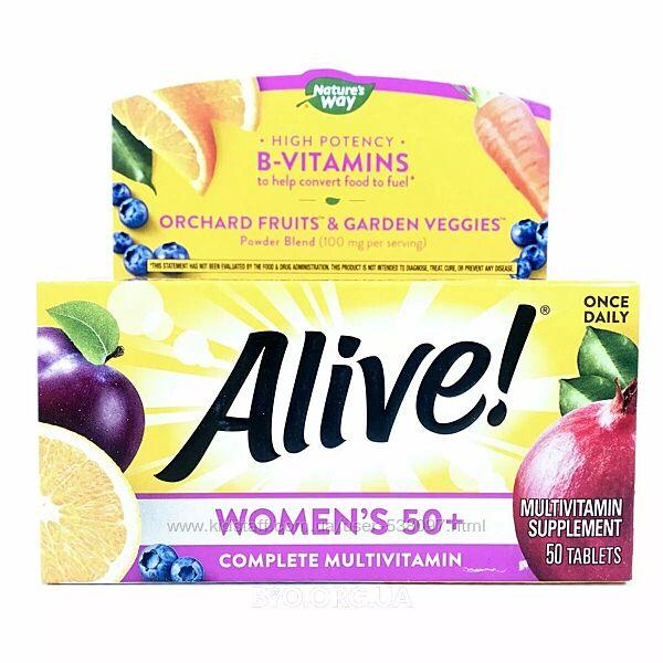 Nature&acutes Way Alive комплексные мультивитамины для женщин от 50 лет. 50 т