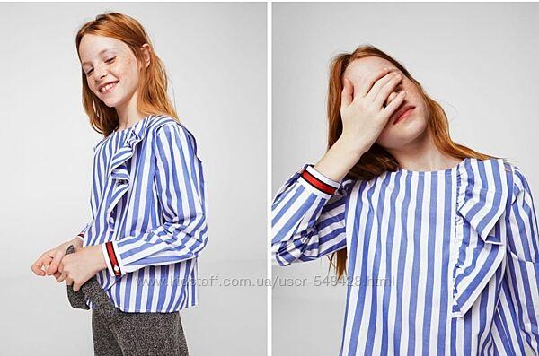 Красивая стильная блузка рубашка на девочку от Mango размер 128