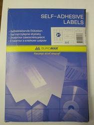 Этикетки самоклеящиеся Buromax 100 листов А4 - 2 шт на листе. Стикеры BM.28