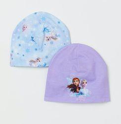 Трикотажная деми шапка H&M 50-56 см Холодное сердце Frozen набор из 2-х шт.