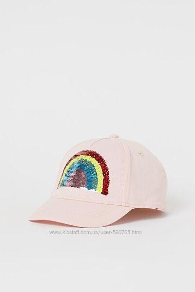 Кепка бейсболка H&M 92-128 см 1-8 лет Розовая с радугой из паеток хлопок