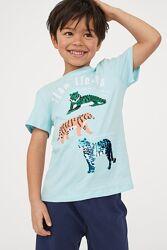 Костюм комплект футболка и шорты H&M 98-104 см 3-4 года с тиграми из паеток