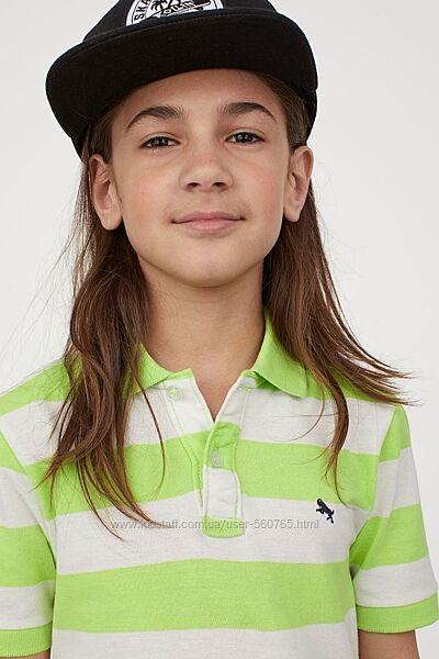 Хлопковая футболка поло H&M Англия 134-164 см для мальчика юноши