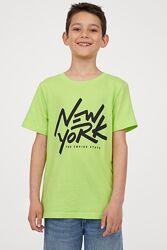 Хлопковая футболка H&M 134-170 см 8-14 лет для мальчика парня салатовая