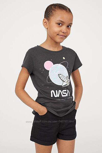 Футболка H&M 10-12 лет 146-152 см для девочки NASA Америка НАСА