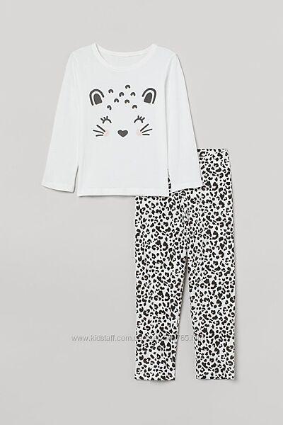 Пижама H&M 8-10 лет 134-140 см белая с леопардовым принтом пижамка