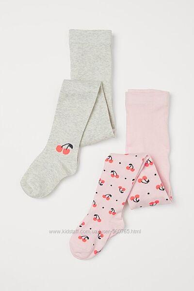 Хлопковые колготы 86-92 см H&M Америка с вишенками для девочки колготки