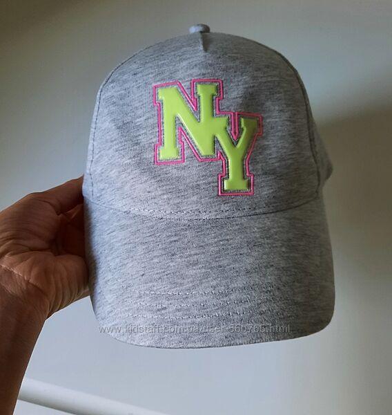 Кепка бейсболка H&M 12-16 лет 54-56 см Светло-серый меланж с принтом NY
