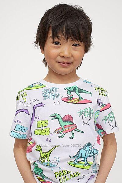 Футболка H&M 110 116 см 4-6 лет для мальчика белая c принтом динозавров