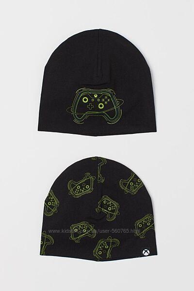 Шапка H&M 8-14 лет 53-56 см комплект 2 шт. черная хлопковая деми Xbox