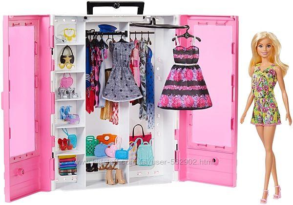 Barbie Fashionistas Гардероб розовый с одеждой и обувью mattel GBK11 шкаф
