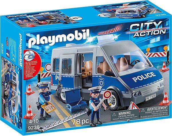 Playmobil 9236 - Полицейский автобус с блокпостом Police Bus Германия