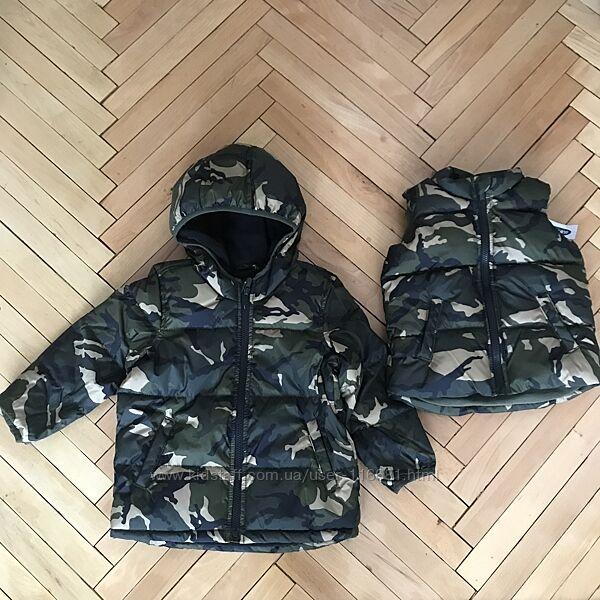 Куртка тепла жилетка безрукавка Old Navy Mango 3 - 5 років хаки