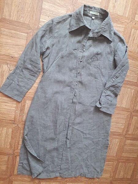 Платье рубашка, кардиган, сафари, лен 100 р. S