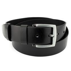Ремень мужской кожаный широкий черный JK-4570 120 см