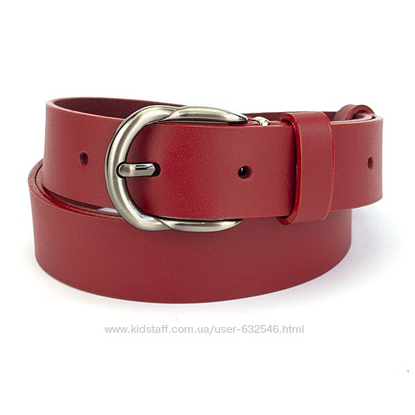 Женский кожаный ремень под джинсы красный PS-3085 125 см