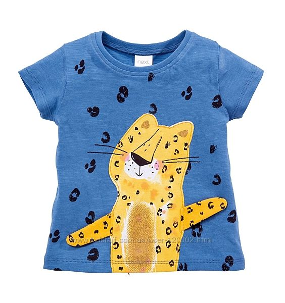 Интерактивная футболка NEXT некст с короткими рукавами и гепардом