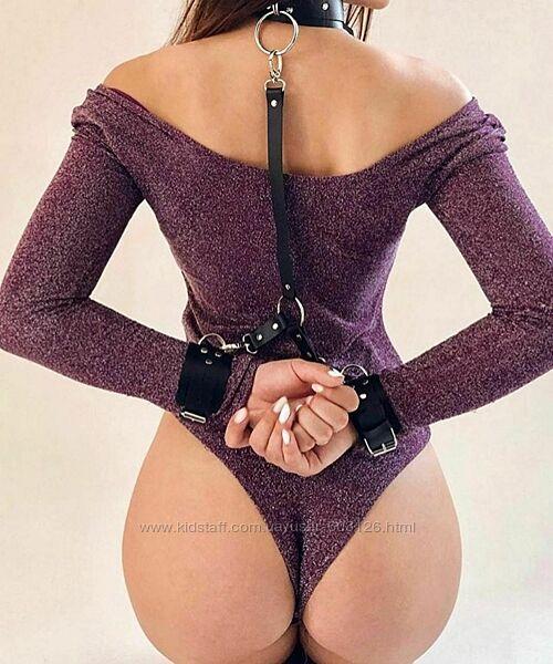 Комплект наручники и чокер кожа, ошейник с поводком, секс шоп, ролевые игры