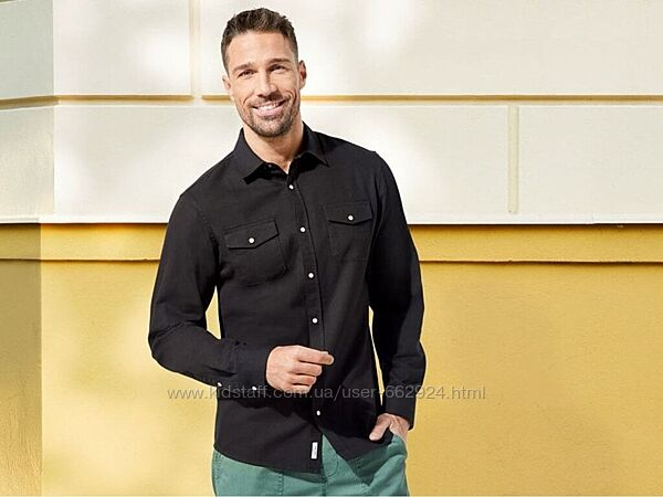 Джинсовая рубашка, черная, L ворот 41-42, Livergy, Германия