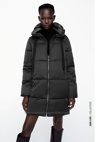 Куртка Zara 2-х сторонняя L ПОГ 60см  черная/темно зеленая