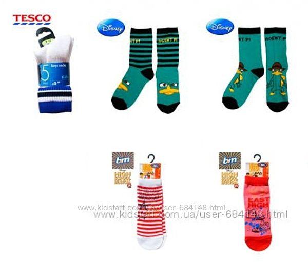 Носки детские в упаковках и поштучно Англия Tesco, Lowes, B&M, Disney