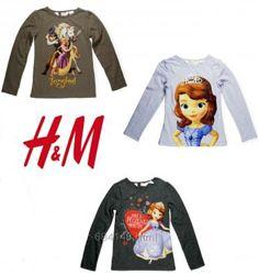 Реглан , лонгслив для девочек Дисней на 1-6 лет, бренд H&M Англия