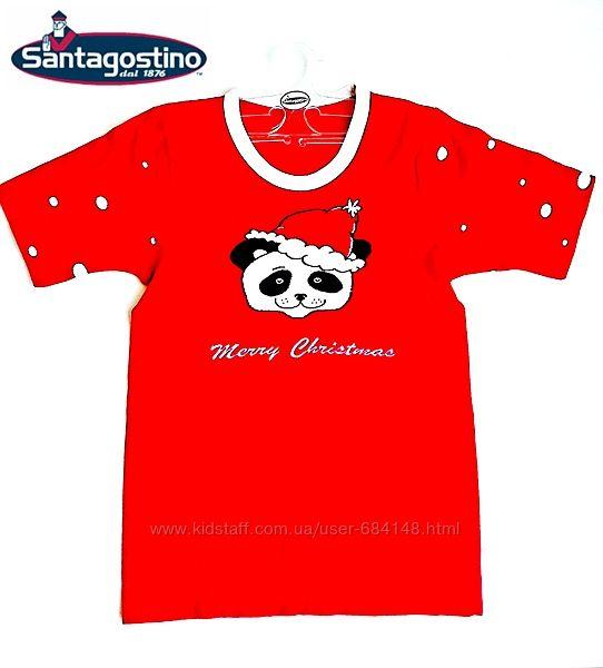 Футболка детская красная Панда Новый Год Рождество 4-5л Santagostino Италия