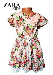 Платье детское нарядное летнее хлопковое бренд Zara на 2-4 г рост 92-104 см