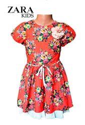 Платье детское летнее красное в цветах для девочек 2-3г, 3-4 г, 4-5 л Zara