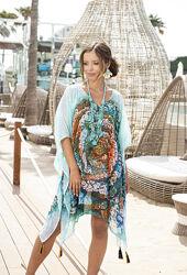 Пляжная туника, накидка с натурального шифона Индиано Испания в наличии