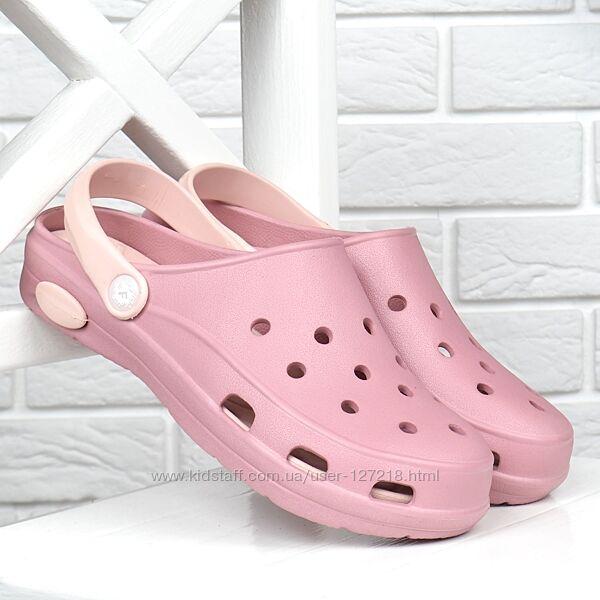 Сабо женские кроксы Clogs Fogo влагостойкие облегченные розовые пудра