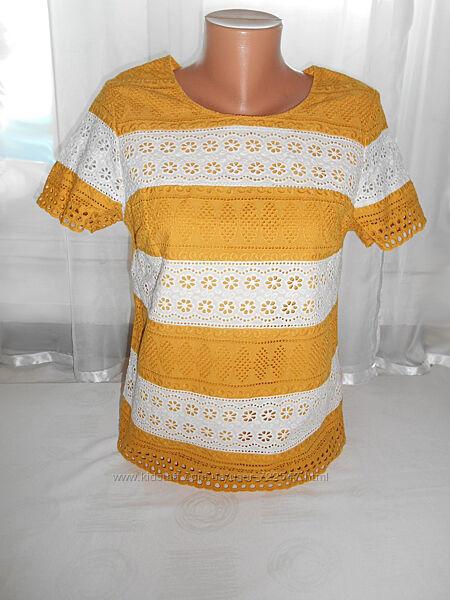 Хлопковая блузка футболка прошва кружево вышивка