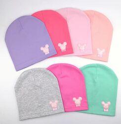 Тонкие трикотажные шапки для девочек Минни 1-7 лет