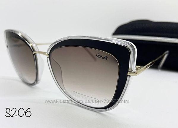 Стильные женские солнцезащитные очки Optelli полупрозрачные бабочки