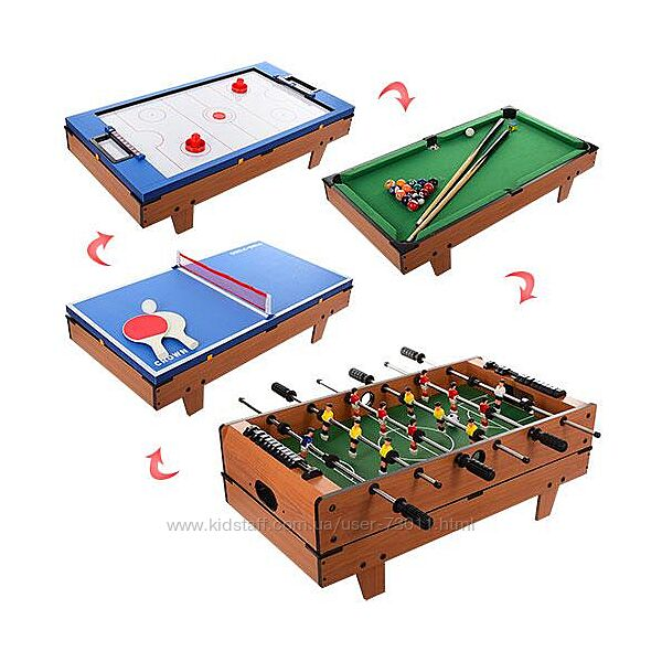 Настольная игра 4 в 1 хоккей, футбол, теннис, бильярд арт. 207-4