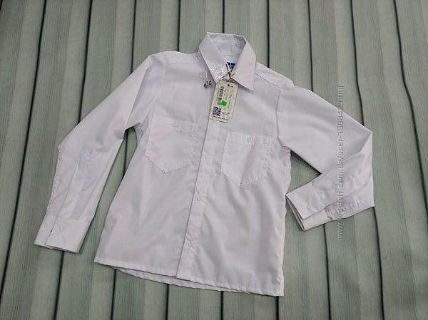 Рубашка белая на кнопках с длинным рукавом