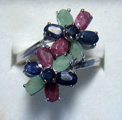 Еффектное кольцо рубин сапфир изумруд серебро 925 СКИДКА