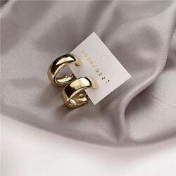 Серьги кольца тренд дутые сережки золото