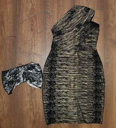 Золотое бандажное платье herve leger
